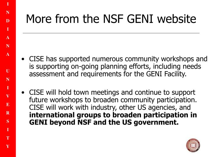More from the NSF GENI website