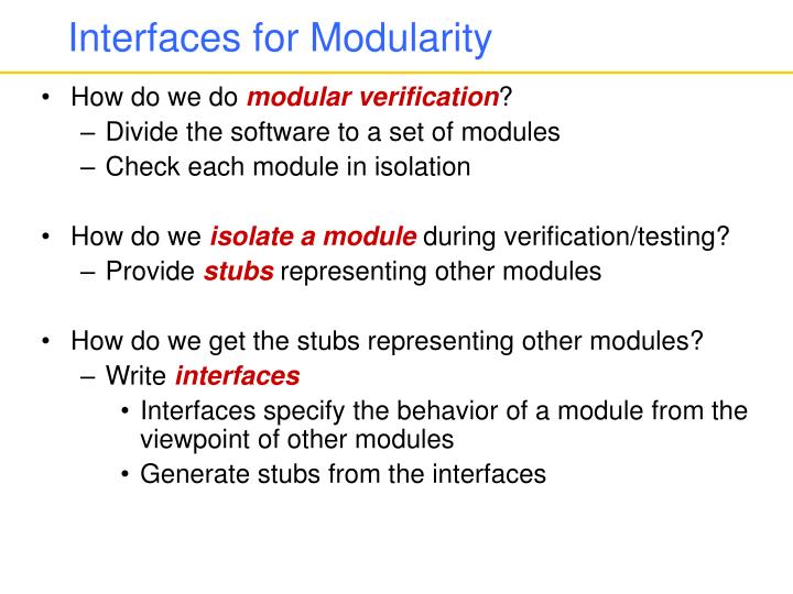 Interfaces for Modularity