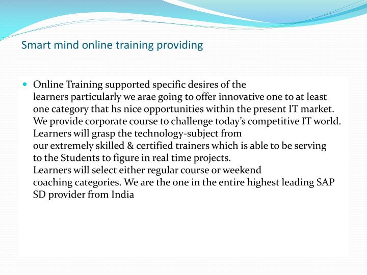 Smart mind online training providing