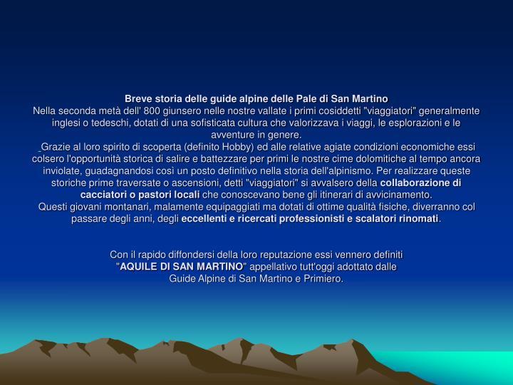 Breve storia delle guide alpine delle Pale di San Martino