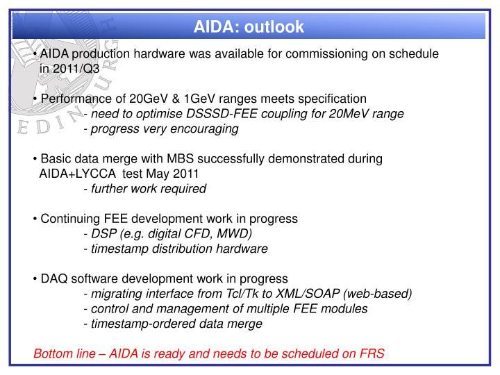 AIDA: outlook
