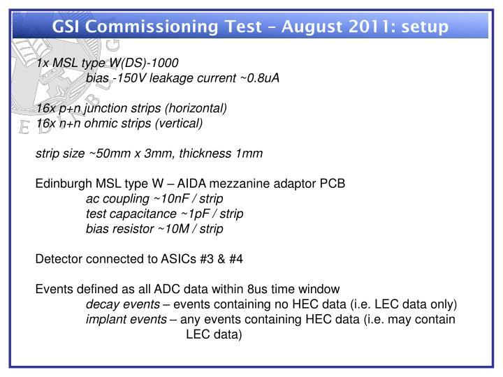 GSI Commissioning Test – August 2011: setup