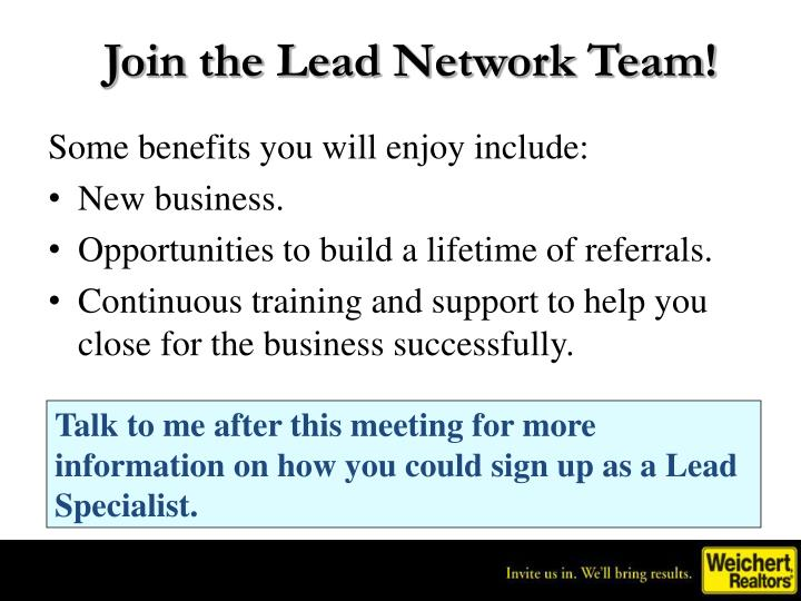 Join the Lead Network Team!