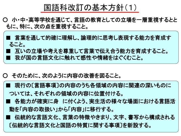 国語科改訂の基本方針(1)