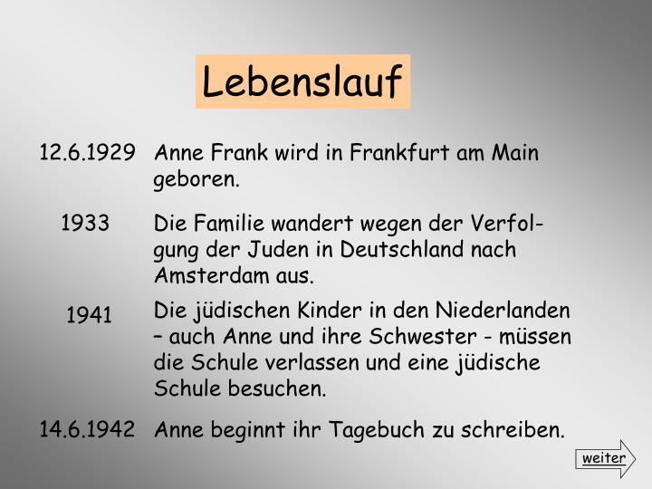 weiter - Anne Frank Lebenslauf