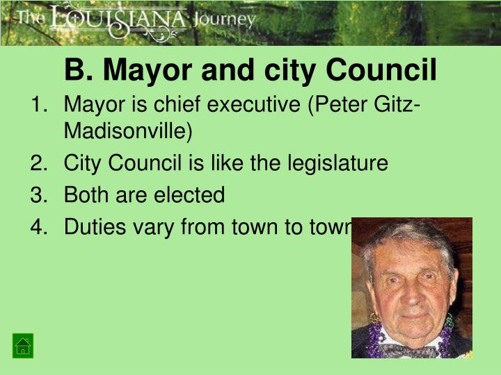 B. Mayor and city Council