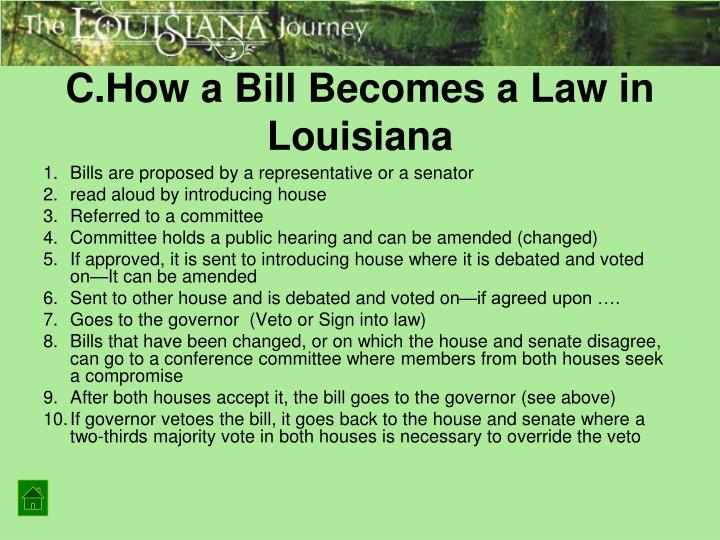 C.How a Bill Becomes a Law in Louisiana