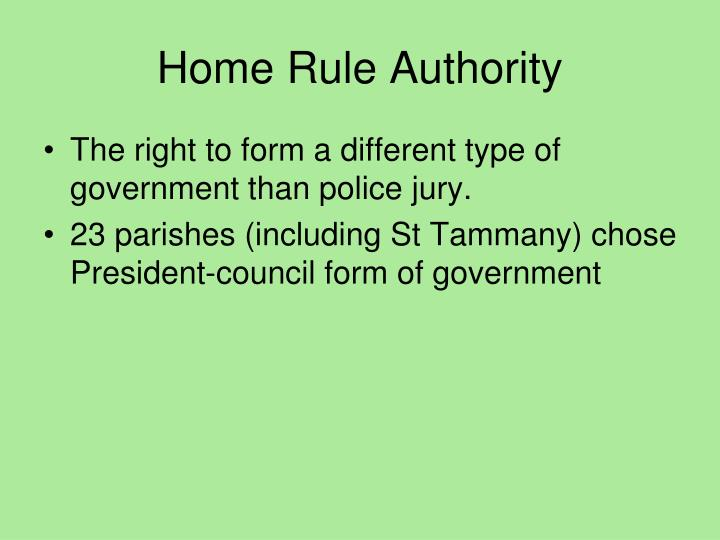 Home Rule Authority