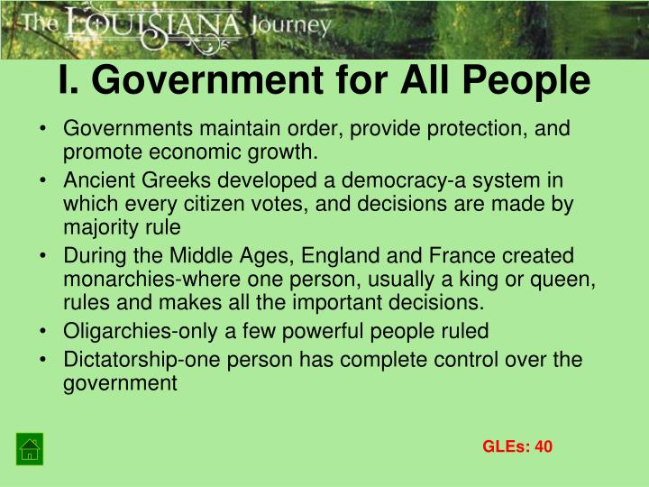 I. Government for All People