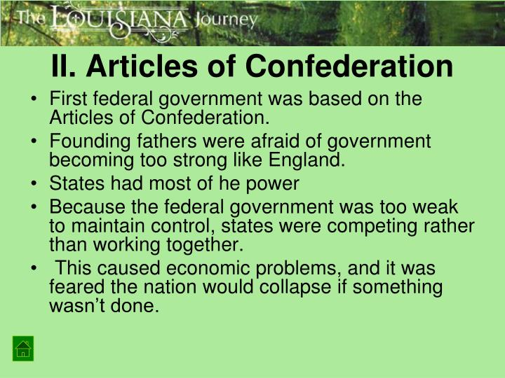 II. Articles of Confederation