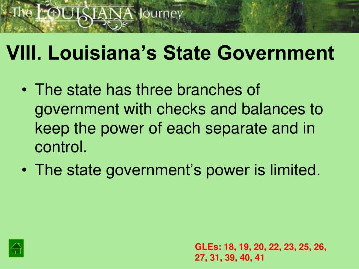 VIII. Louisiana's State Government
