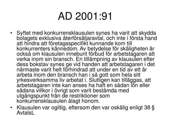 AD 2001:91