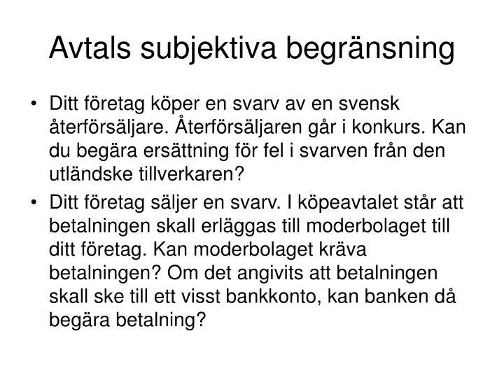 Avtals subjektiva begr nsning1