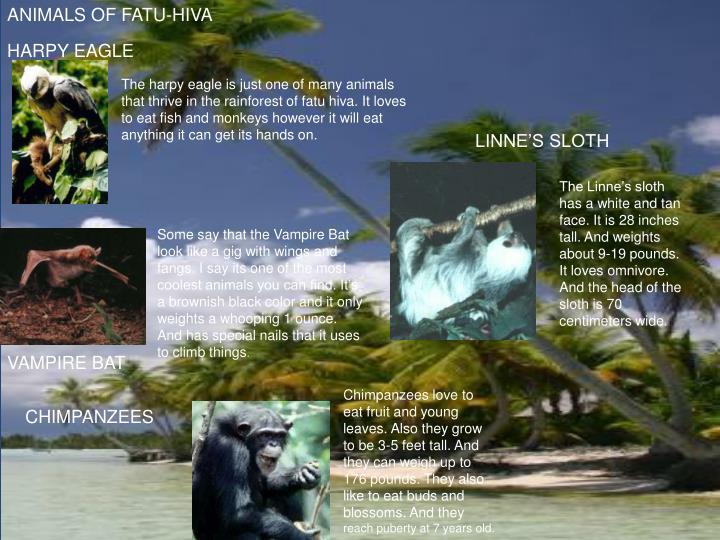 ANIMALS OF FATU-HIVA