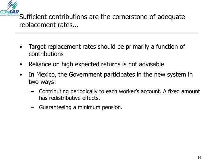 Sufficient contributions are the cornerstone of adequate replacement rates...