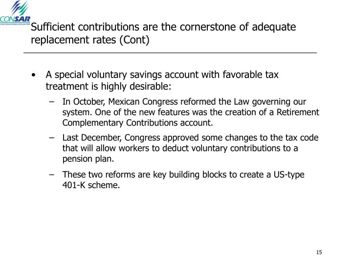 Sufficient contributions are the cornerstone of adequate replacement rates (Cont)