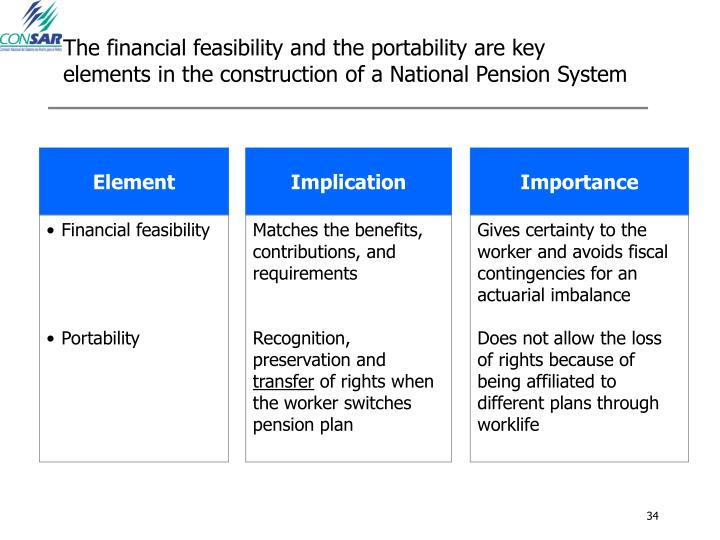 The financial feasibility and the portability are key elements in the construction of a National Pension System