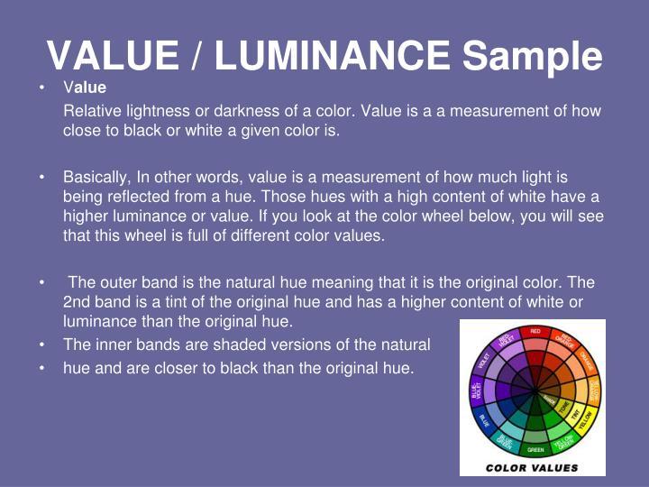 VALUE / LUMINANCE Sample