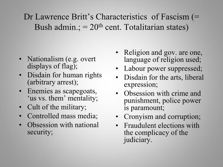 Dr Lawrence Britt's Characteristics  of Fascism (= Bush admin.; = 20