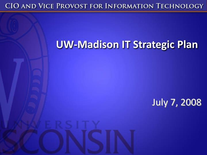 uw madison it strategic plan n.