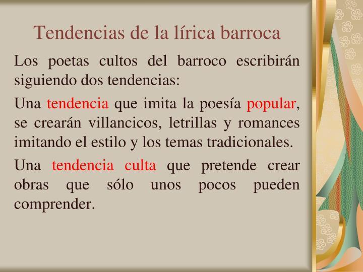 Tendencias de la lírica barroca