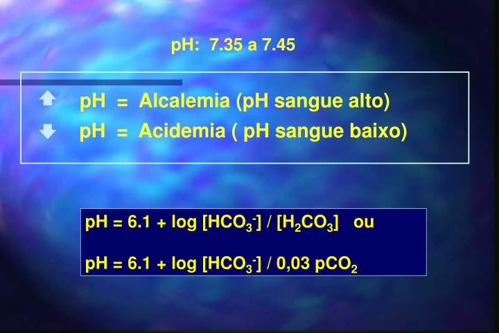 pH  =  Alcalemia (pH sangue alto)