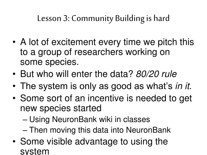 Lesson 3: Community Building is hard