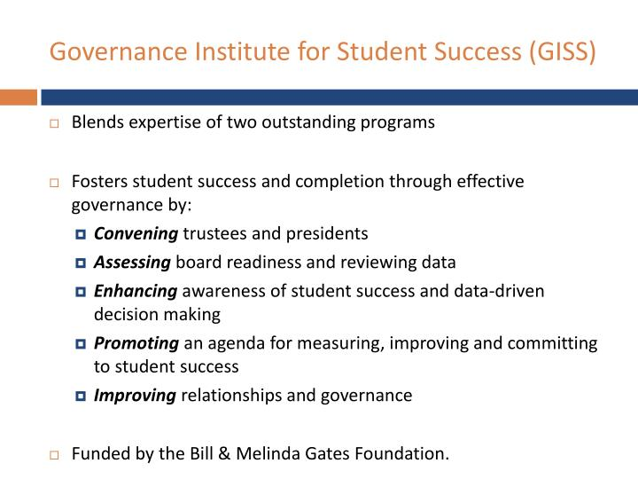 Governance Institute for Student Success (GISS)