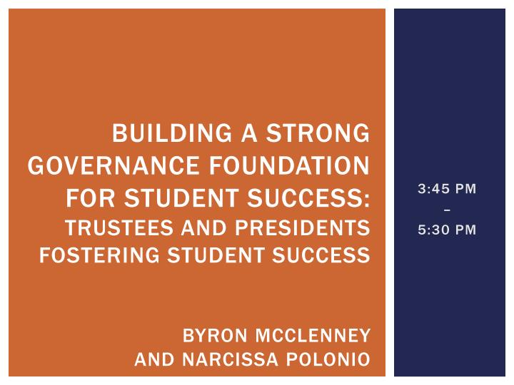 Building a strong governance foundation for student success: