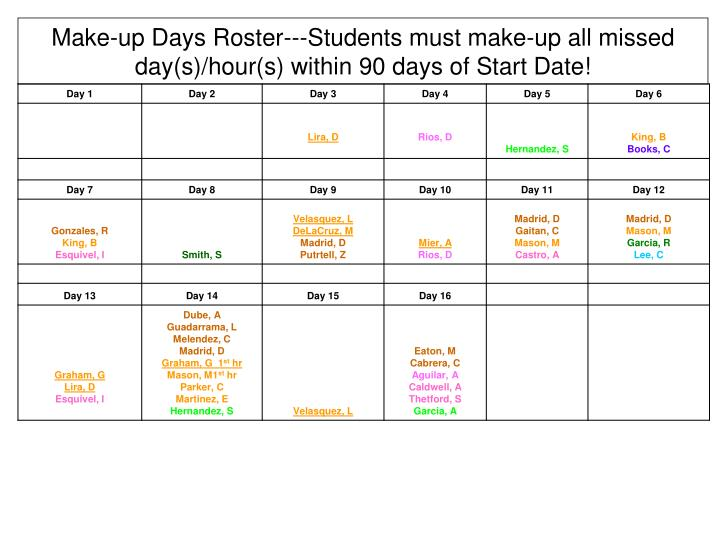 make up days roster students must make up all missed day s hour s within 90 days of start date n.