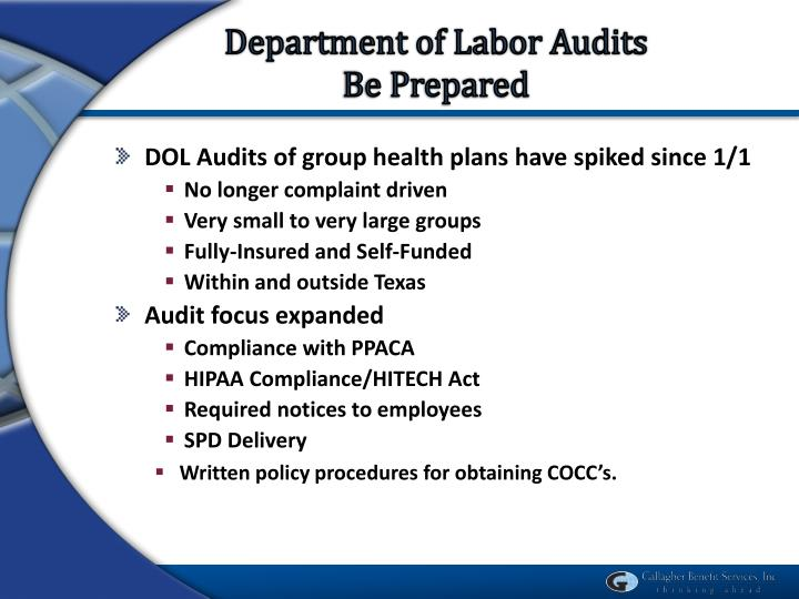 Department of Labor Audits