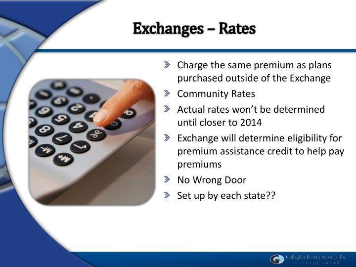 Exchanges – Rates