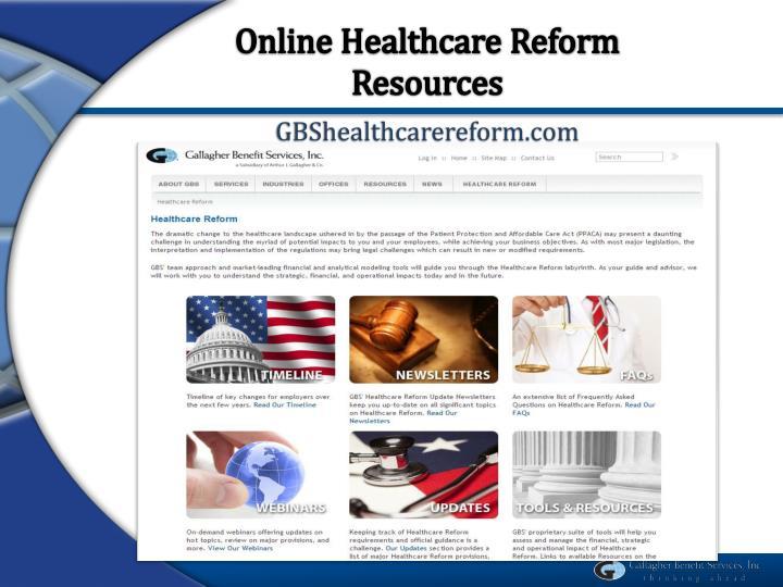 Online Healthcare Reform Resources