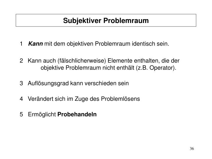 Subjektiver Problemraum