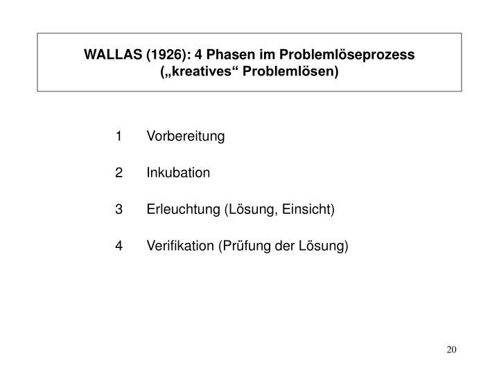 WALLAS (1926): 4 Phasen im Problemlöseprozess