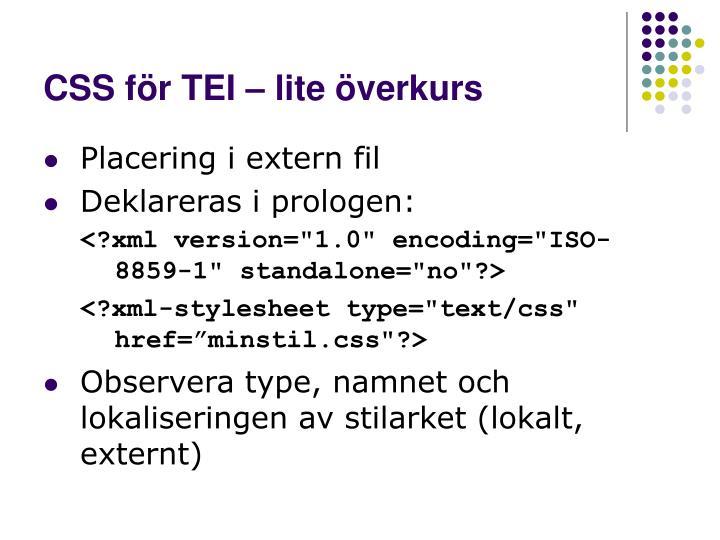 CSS för TEI – lite överkurs