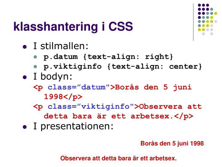 klasshantering i CSS