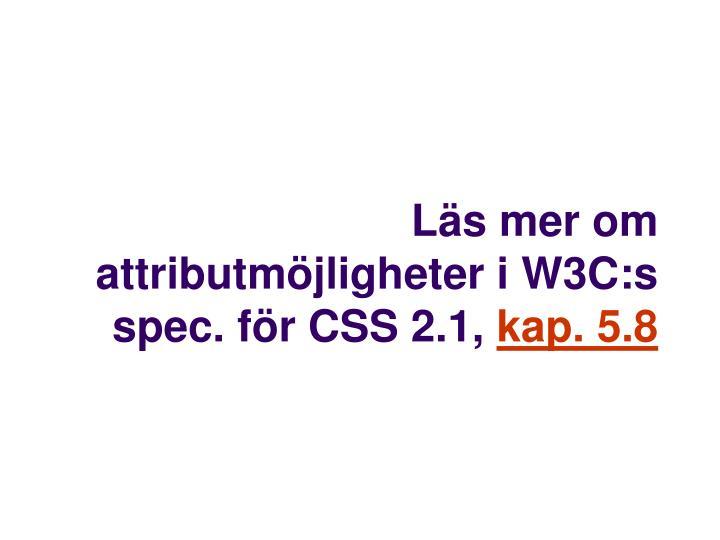 Läs mer om attributmöjligheter i W3C:s spec. för CSS 2.1,