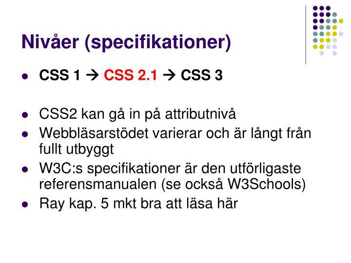 Nivåer (specifikationer)
