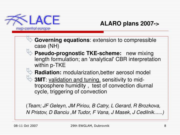 ALARO plans 2007->