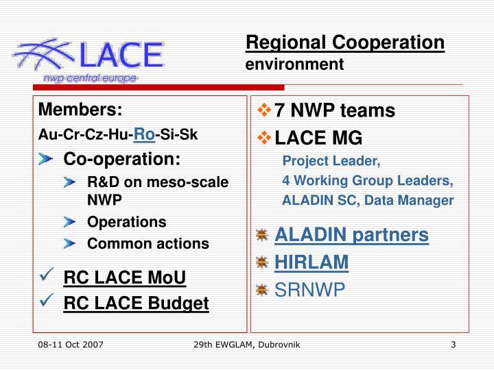 Regional cooperation environment