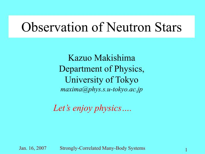 observation of neutron stars n.