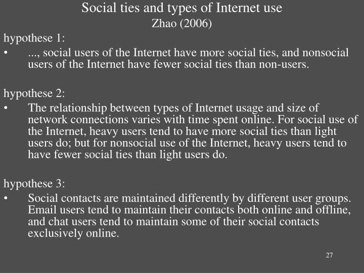 Social ties and types of Internet use