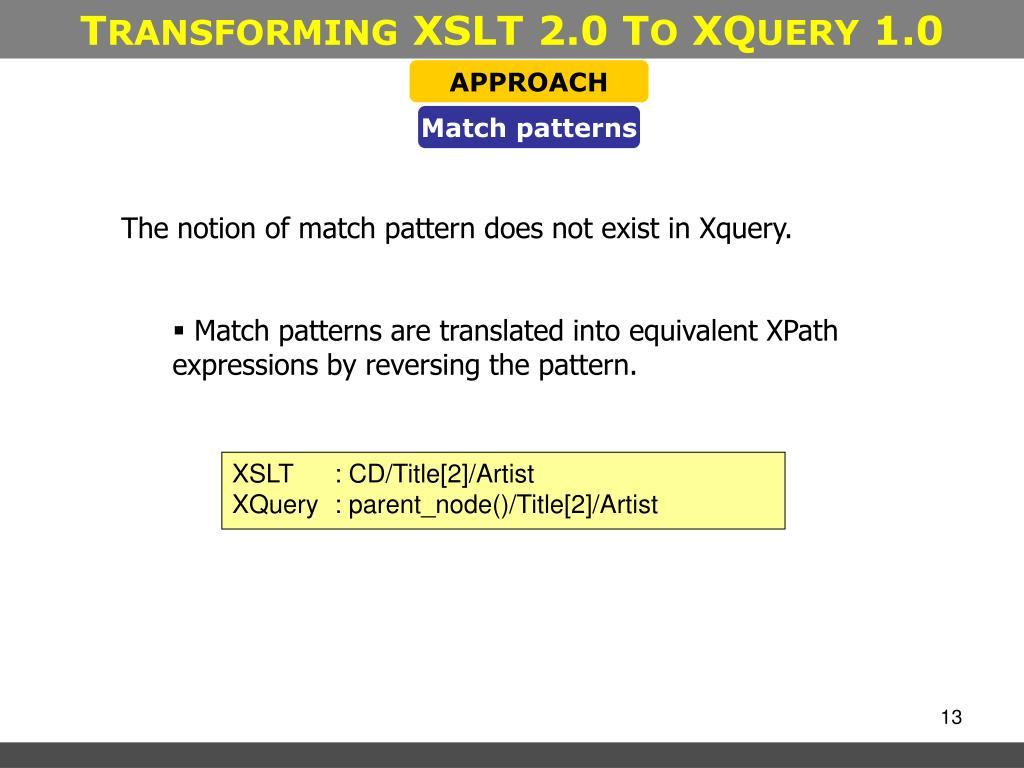 Ppt T Ransforming Xslt 2 0 T O Xq Uery 1 0 Powerpoint
