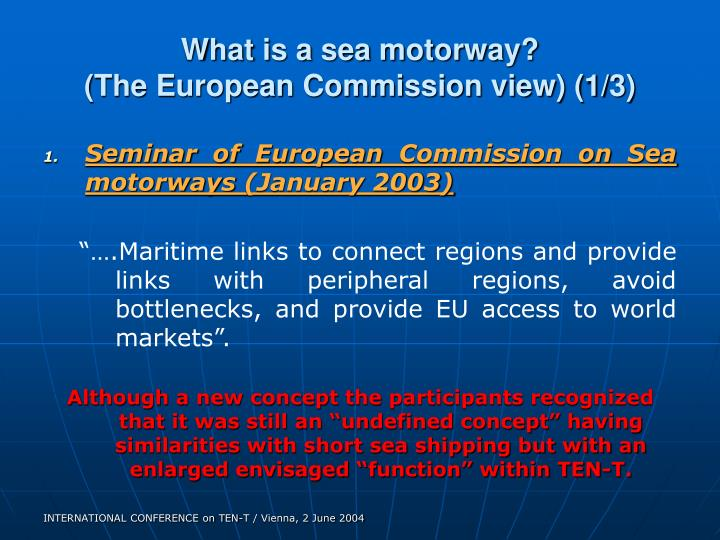 What is a sea motorway?