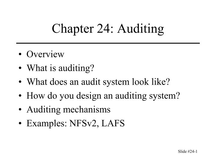chapter 24 auditing n.
