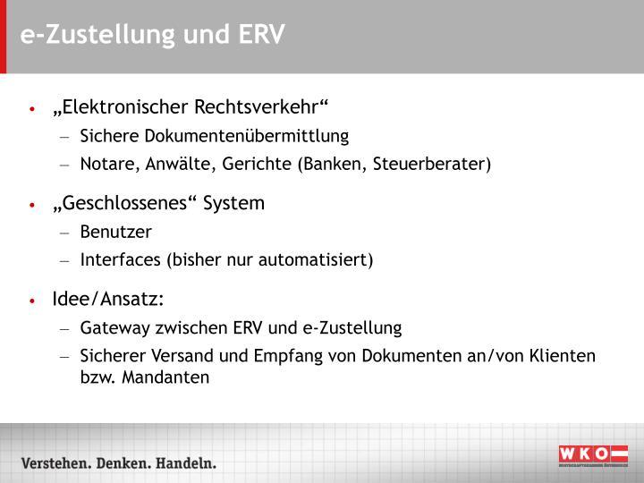 e-Zustellung und ERV