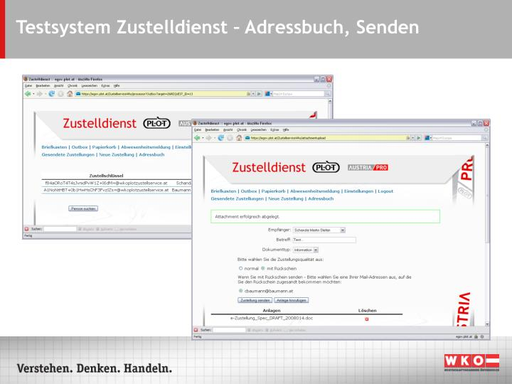 Testsystem Zustelldienst – Adressbuch, Senden