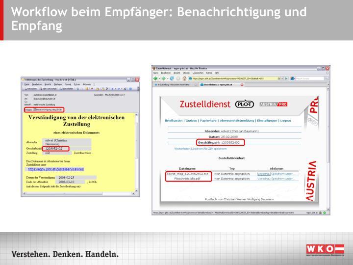 Workflow beim Empfänger: Benachrichtigung und Empfang