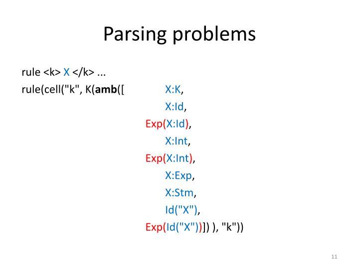 Parsing problems